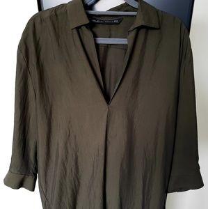 Zara Woman oversized blouse in olive green